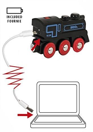 BRIO trein Oplaadbare locomotief met mini USB- kabel 33599-3